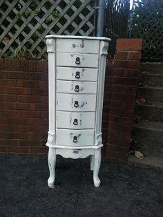 Beautiful white jewelry armoire stand up jewelry box shabby chic