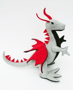 Fantastical Stuffed Dragon Grey Black & Red by TheRoamingPeddlers, $30.00
