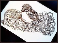 by Ishiga Naoyuki Paper Lace, Diy Paper, Paper Crafts, Kirigami, Paper Artwork, Bird Patterns, Paper Cutting, Zentangle, Sculpture