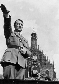 """Hitler in front of """"Church of our Lady"""" in Nuremberg, Sept. 1934. I know this is bad to say, but this is actually a well composed photograph."""