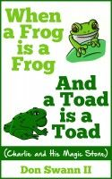 Charlie is a curious little boy watching green creatures swim in the pond below. Wanting to know which is a frog & who is a toad,