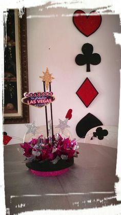 Centro de mesa tema las Vegas Nevadas