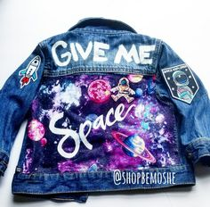 BeMoShe Custom Kid's Jacket Custom Hand painted Denim Jacket with patches for both adults Painted Denim Jacket, Painted Jeans, Painted Clothes, Hand Painted, Denim Jacket Patches, Cropped Denim Jacket, Patch Jean Jacket, Kids Denim Jacket, Custom Denim Jackets