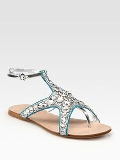 Miu Miu $695  Glitter Metallic Leather and Suede Starfish Sandals, beach wedding anyone?