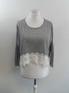 99b85751d82 MISSGUIDED JERSEY TOP LONG SLEEVE LOU GRAY CROCHET BORDERS SIZE 8 NEW BOX83  48 E  fashion  clothing  shoes  accessories  womensclothing  tops (ebay  link)