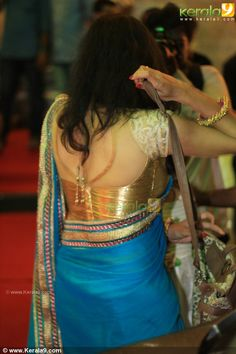 Blouse back with silk saree