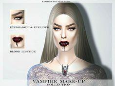 Vampire eyeshadow, eyeliner and lipstick by FashionRoyaltySims at TSR via Sims 4 Updates