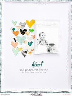 """Hearts from Pinkfresh Studio& """"Let Your Heart Decide"""" collection . - The hearts from the """"Let Your Heart Decide"""" collection by Pinkfresh Studio are one of the most beau - Baby Boy Scrapbook, Ideas Scrapbook, Bridal Shower Scrapbook, Birthday Scrapbook, Scrapbook Sketches, Scrapbook Page Layouts, Scrapbook Albums, Scrapbook Supplies, Scrapbook Cards"""