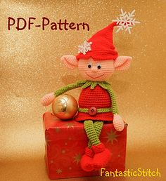 Crochet Pattern Christmas Elf Amigurumi Instant Download PDF . Such crochet Elf as Amigurumi make for a great present, and they also can be used for decorating your home.