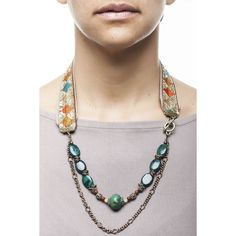 Necklace with antique moroccan trimming natural stone and indian silver ornament Handmade fashion Montreal