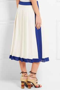 Victoria Beckham | Georgette-trimmed pleated crepe midi skirt | NET-A-PORTER.COM