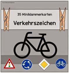 """Ideenreise: Miniklammerkarten """"Verkehrsschilder"""" 35 Schilder und Bedeutung zum doppelt Ausdrucken und Schilder basteln"""