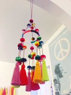 DIY Pompom Chandelier   the neon tea party