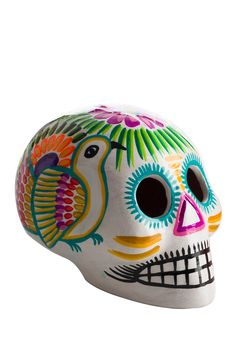 White Ceramic Skull by Karma Living
