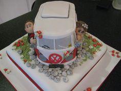 Vw Campervan Wedding Cake 2 Tier With A Square Base In Fruit Camper Van Cake, Fruit Cake Design, Wedding Events, Weddings, Campervan, Let Them Eat Cake, Amazing Cakes, Cake Decorating, Special Occasion