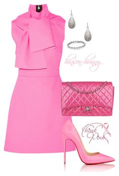 """Think Pink"" by hinson-hunny ❤ liked on Polyvore featuring MSGM, Chanel, Christian Louboutin and CZ by Kenneth Jay Lane"