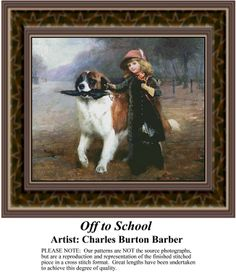 Off to School, Fine Art Counted Cross Stitch Pattern also available in Kit and Digital Download #pinterestcrossstitchpattern #pinterestgifts