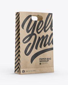 Kraft Paper Bag Mockup - Half Side View in Bag & Sack Mockups on Yellow Images Object Mockups Bag Mockup, Phone Mockup, How To Make Logo, Pet Bottle, Bottle Mockup, Mockup Templates, Packaging, Side View, Paper Bag Design