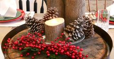 Rustic Christmas centrepiece with barrel and stumps by Rustique Art