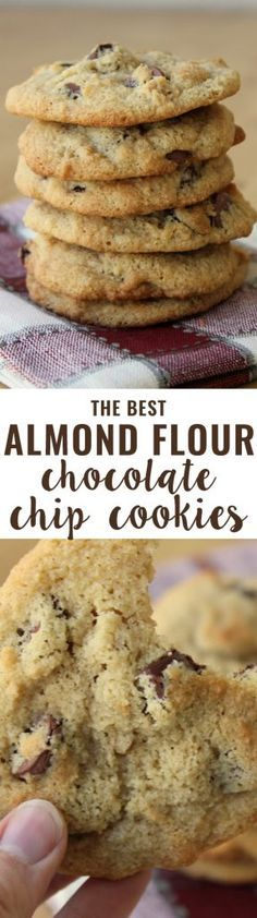 Flour Chocolate Chip Cookies (Grain-Free) An all-time favorite recipe! Crispy on the outside, soft on the inside and slightly buttery. People tell me all the time they prefer these cookies to their traditional cookie recipes.Inside Inside may refer to: Low Carb Sweets, Healthy Sweets, Low Carb Desserts, Gluten Free Desserts, Healthy Baking, Low Carb Recipes, Paleo Recipes, Diabetic Desserts, Diabetic Cookie Recipes