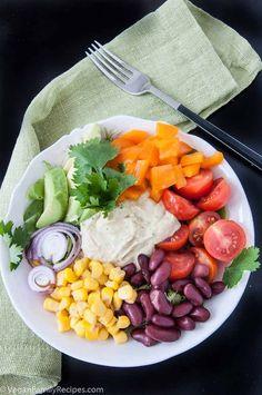 Mexican hummus salad bowl recipe   VeganFamilyRecipes.com