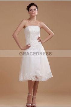Romantic Strapless Backless Princess Tea-length Lace Petite Wedding Dresses