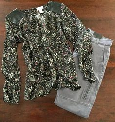 Floral Top w/ Leather Accent - The Loft. Zippered Pant in Grey - Banana Republic.