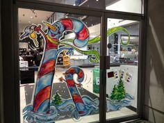 Christmas Drawing, Christmas Paintings, Christmas Art, Christmas Stuff, Xmas, Window Art, Window Ideas, Store Front Windows, Christmas Windows