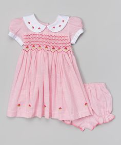 Take a look at this sissymini Pink Gingham Smocked Dress & Bloomers - Infant & Toddler on zulily today!
