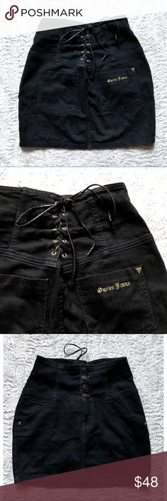 "Vintage Guess Corset Lace Up High Waist Shorts Vintage Guess Jeans Black Stretch Corset Lace Up High Waist Mini Shorts Size 28   Brand: Guess Jeans Size: 28 Condition: pre-loved Material: 99% cotton, 1% spandex  	•	style Y8351101 	•	Stretch style 	•	corset lace up in back 	•	4 pockets 	•	high waist  Measurements laying down: Center length (waist to hem): 15"" Waist: 13"" (stretches to ~14"")  Product ID