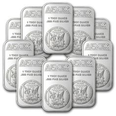 Lot of 10 1 oz Apmex silver bars in Airtight protectors. in Coins & Paper Money, Bullion, Silver Gold Bullion Bars, Bullion Coins, Silver Bullion, Gold And Silver Prices, Eagle Design, Gold Stock, Gold Tips, World Coins, Silver Bars