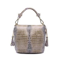 1489779729 Gorgeous Serpentine Pattern Genuine Leather Handbag With Side Tassels And Shoulder  Strap. 7 Colours.
