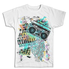 Streetwear and Skateboard inspired Fresh Prince hip hop collage design on classic cotton white t-shirt . The t-shirt is a high quality ring