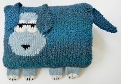 Slumber party! Knit this cute doggie pillow with Lion Brand Homespun and Wool-Ease Thick & Quick. Dave the Dog pattern by Ann Klimpert on Ravelry.