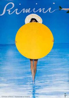 Rimini italy girl beach umbrella vintage world travel art poster print Vintage Italian Posters, Vintage Advertising Posters, Vintage Advertisements, Vintage Ads, Retro Poster, Poster S, Poster Vintage, Vintage Travel Posters, Poster City