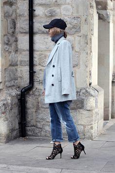 Jumper Isabella Oliver, coat Jaeger, jeans Acne, heels Jimmy Choo, and cap H & M