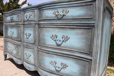 SOLD  Vintage French provincial dresser by Drexel blue / grey