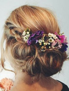 Wedding hair with flowers and braid - bridesmaids #weddinghairstyleswithflowers