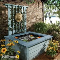 Build this simple, above-ground pond in a weekend. It features a fountain and a trellis. It's attractive, yet you avoid the tough digging chore. Plus it's less of a hazard for toddlers than an in-ground pond.