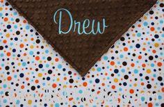 Minky Baby Blanket  Personalized  Brown Minky by littlebnursery, $38.00
