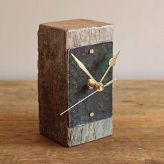 Small Mantel Clock Salvaged Oak and Rusty Green Metal by Reclaimed Time