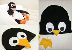 Baby Kostüm pinguin-mütze-filz-selber-machen