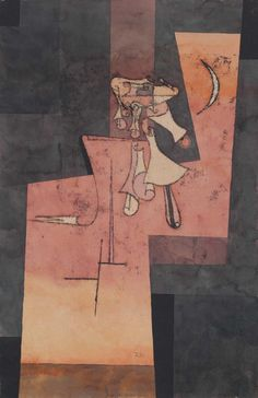 Paul Klee (Swiss, 1879-1940), Silbermondgeläute [The Chimes of the Silver Moon], 1922. Watercolour, oil transfer drawing and pen and ink on paper laid down on artist's mount, image: 48 x 31.7 cm.; mount: 51.4 x 33.9 cm.