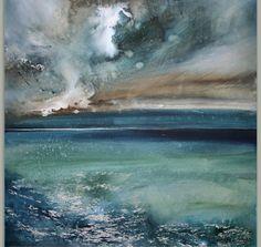 The Sea Art Aquarelle, Art Watercolor, Watercolor Landscape, Landscape Art, Landscape Paintings, Paintings I Love, Beautiful Paintings, Encaustic Art, Rhone