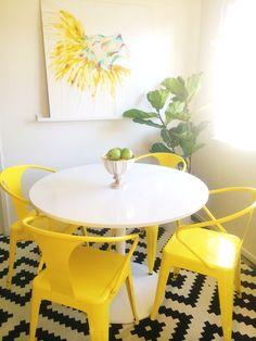 Breakfast nook // yellow chairs {Bel & Beau instagram}
