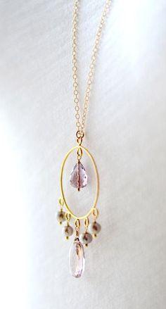 Long ametrine necklace gold, purple stone necklace