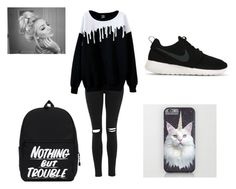 """""""My first outfit .. I know , isn't perfect but anway i like it"""" by tira-bianca on Polyvore featuring Topshop and NIKE"""
