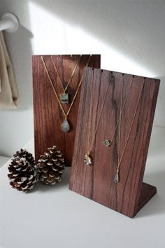 Handmade Wooden Necklace Display Stand by amiedelicatedesigns - Amazingly DIY Jewelry Booth, Jewelry Show, Jewelry Stand, Diy Jewelry, Handmade Jewelry, Jewelry Making, Amber Jewelry, Handmade Shop, Jewellery Storage