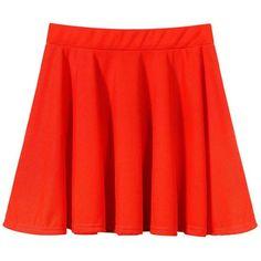 Yoins Orange Skater Skirt -Orange  M/L ($10) ❤ liked on Polyvore featuring skirts, red, orange, pleated circle skirt, flared skirt, orange skirt, orange skater skirt и red skirt