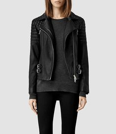Womens Hemming Leather Biker Jacket (Black) - product_image_alt_text_1 $685